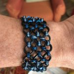 Black, blue, and silver bracelet